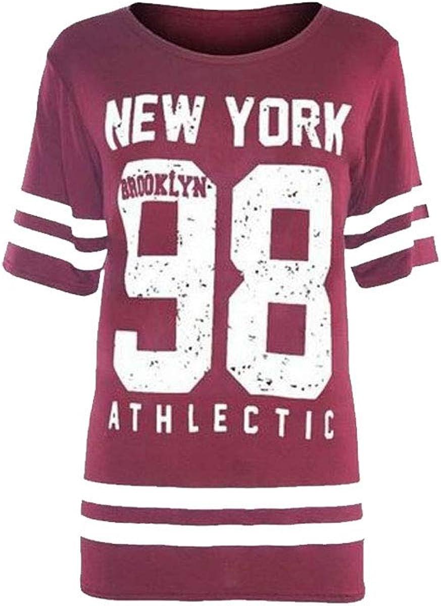 Divadames Womens New Baseball Plus Size 98 T-Shirt Ladies New York 98 Brooklyn Print Shirt Oversized T-Shirt Sizes UK 8//10-20//22