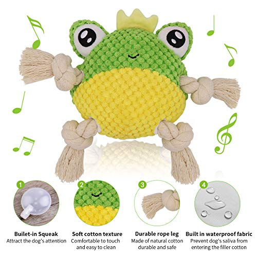 ACKMIOXY Dog Plush Toys Dog Chew Toys Pet Squeaky Toys, Interactive Stuffed Chewing and Durable Rope Toys for Puppy,Small,Medium,Large Dogs Reducing Boredom (Frog)