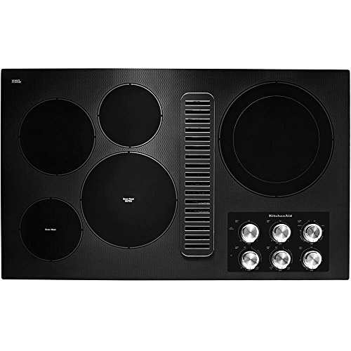 KitchenAid KCED606GBL 36 Black 5 Burner Electric Downdraft Cooktop