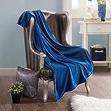 Honeymoon Velvet Flannel Fleece Throw Lightweight Cozy Plush Microfiber Blanket, Royal Blue
