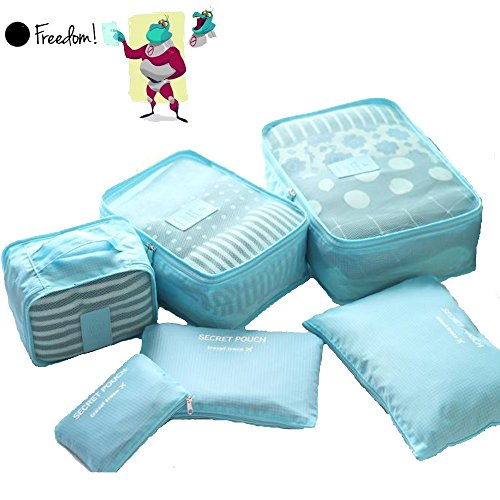 Waterproof 5-Piece Packing Bags (Sky Blue) - 4