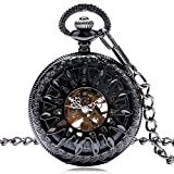 Retro Pocket Watch, Antique Style Skeleton Sun Flame Black Mechanical Pocket Watch, Gift for Men