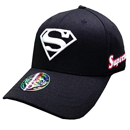 myglory77mall Superman Shield Embroider Baseball Cap Spandex Fitted Trucker Hat (M, Black/White)