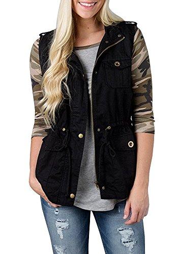 Safari Jacket Dress - Women's Military Safari Utility Drawstring Lightweight Vest Jacket With Pocket Black S