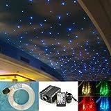 16W Fiber Optic Kit Star Ceiling Light, 28 Keys Sound Sensor Musical RGBW Remote + Mix 335pcs Fibe Optical Cables (0.75mm+1mm+1.5mm) 13.1ft/4m Long