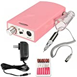 iMeshbean Black / Red /Pink Professional 20,000RPM Portable Rechargeable Cordless Nail Drill File Machine Lightweight Tool Kit USA (Pink)