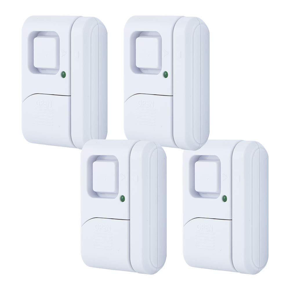 GE Personal Security Window/Door Alarm, 4-Pack, DIY Home Protection, Burglar Alert, Wireless Alarm, Off/Chime/Alarm, Easy Installation, Ideal for Home, Garage, Apartment, Dorm, RV and Office, 45174 by GE
