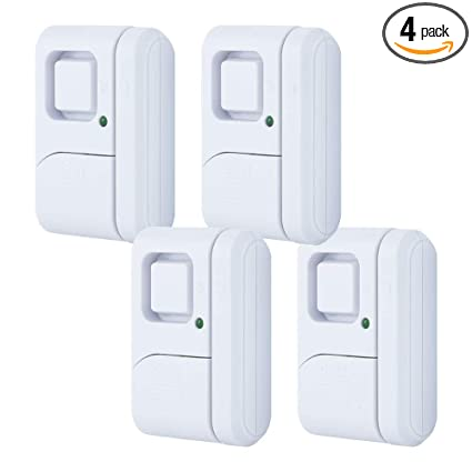 GE Personal Security Window/Door, 4-Pack, DIY Protection, Burglar Alert, Wireless, Chime/Alarm, Easy Installation, Ideal for Home, Garage, Apartment, ...
