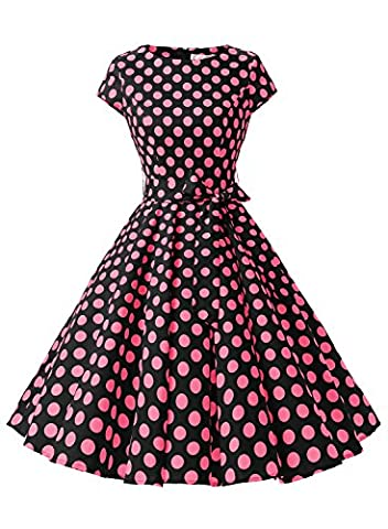 Dressystar Vintage 1950s Polka Dot and Solid Color Party Prom Dresses Rockabilly Cap Sleeves XXL Black Rose Dot B