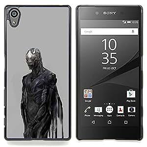 For Sony Xperia Z5 5.2 Inch (Not for Z5 Premium 5.5 Inch) Case , Diablo Demonio Gris Metal - Diseño Patrón Teléfono Caso Cubierta Case Bumper Duro Protección Case Cover Funda