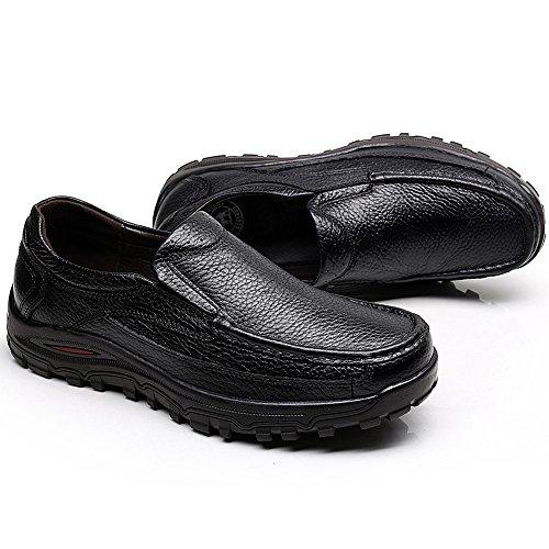 Rismart Hombres Flexible Enredaderas Suela Resbalones Comodidad Al Aire Libre Cuero Genunine Zapatillas Tamaño Grande Disponible Negro