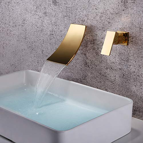 Dr Faucet Wall Mount Waterfall Faucet Mixer Copper Basin Sink Faucet Waterfall Spout, Gold Finished