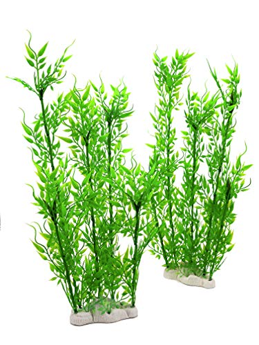 BEGONDIS Aquarium Decorations Fish Tank Artificial Green Water Plants Made of Soft Plastic, Non-Toxic & Safe for All Fish & Pets (Large-1)