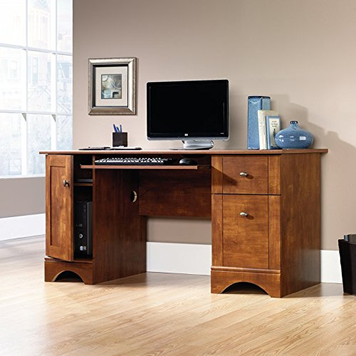 - Computer Desk with 2 Storage Drawers Crafted from Manufactured Wood with Solid Wood Veneers in a Brushed Maple Finish Grommet Hole for Electrical Cord Access