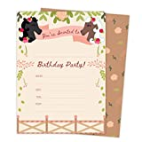 Pony Horse Style 3 Happy Birthday Invitations Invite Cards (25 Count) with Envelopes and Seal Stickers Boys Girls Kids Party (25ct)