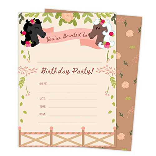 Horse Party Invitations (Pony Horse Style 3 Happy Birthday Invitations Invite Cards (25 Count) with Envelopes and Seal Stickers Boys Girls Kids Party)