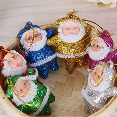 Dolland 6 Pcs Christmas Tree Gold Powder Santa Claus Doll Hanging Ornaments Pentants for House Decorations