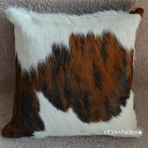 eCowhides Cowhide Pillow Case, 15 x 15 in Tricolor Genuine Leather Cow Hide Throw Pillow Cover, Brown Black White Case Only