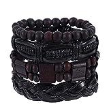 Toponly Mix 6 Wrap Braided Bracelet Vintage Hand-Woven Multi-Layer Hemp Cords Wood Beads Ethnic Leather Bracelet Jewelry Wristbands
