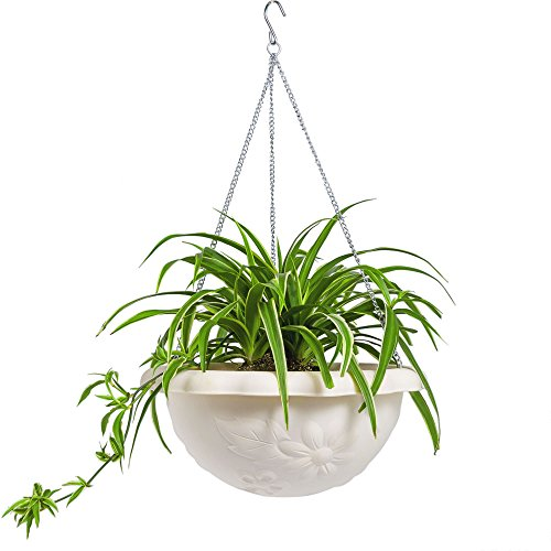 Mkono Plastic Hanging Plant Planter Basket with Chain for Indoor Outdoor Plants, 13'' Diameter by Mkono
