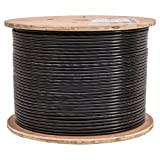 Vertical Cable Cat6, UTP, Gel Filled (Flooded Core), Direct Burial, 1000ft, Black, Bulk Ethernet Cable