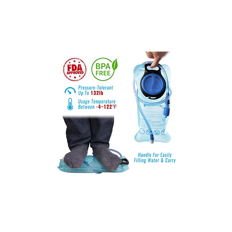 RoryTory 2 Liter Hydration Pack Water Bladder for Backpack Set | Includes Compact Hydration Reservoir Bag + Cleaning Drying Kit for Outdoor Hiking, Backpacking, Cycling, Climbing, Running, Traveling