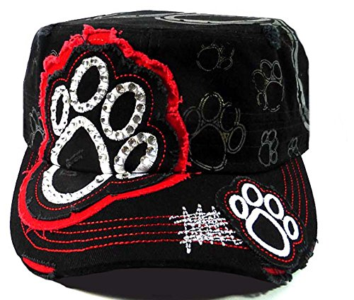 Paw Print Distressed Crystal Rhinestone Adjustable Military Cadet Cap (Black/Red) Distressed Print Cap