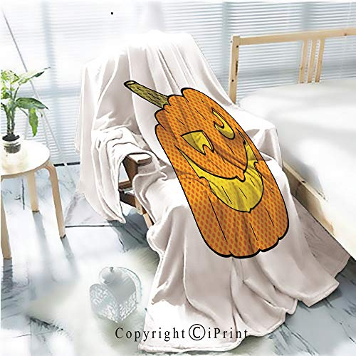 AngelSept Printed Throw Blanket Smooth and Soft Blanket,Comic Book Speech Bubble Cartoon Halloween pumpkin1 for Sofa Chair Bed Office Travelling Camping,Kid Baby,W31.5 x H47.2