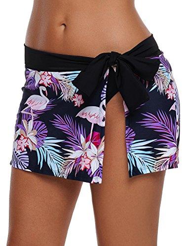 (LookbookStore Women's Summer Swim Skirt Bikini Bottom Flamingo Floral Printed Bowknot Side Swimsuit with Brief Size XXL )