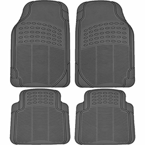 (U.A.A. INC. All Weather Solid Gray Rubber Trimmable Front & Rear 4 Pieces Universal Car Van Truck Floor Mats Set)
