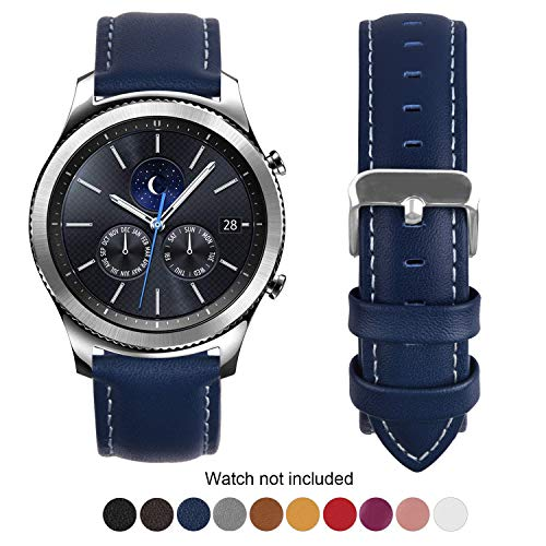 Compatible Samsung Galaxy 46mm/Gear S3 Frontier/Classic Watch Bands, Fullmosa Quick Release Leather Watch Band for Gear S3 Bands/Moto 360 2nd Gen 46mm 22mm Watch Band, Dark Blue + Silver Buckle
