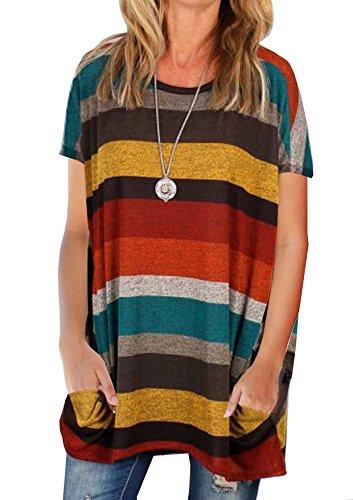 Haut Courte T Femme Shirt Tunique Rond Yidarton Taille Large Top Coton  Grande Jaune Blouse Manche ... a6d83612be12