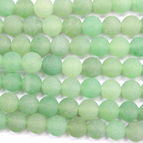 Natural Unpolished Frosted Genuine Green Aventurine Round Gemstone Jewelry Making Loose Beads (6mm)