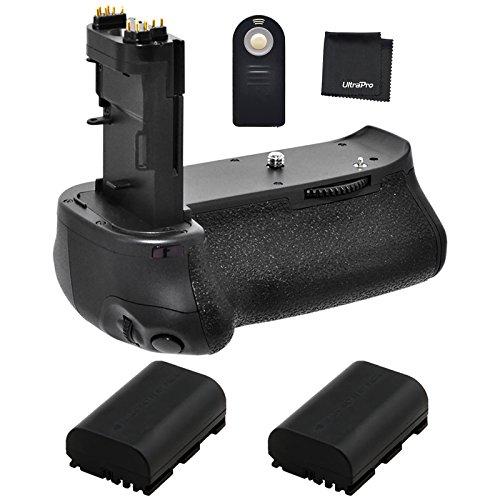 Battery Grip Bundle F/ Canon EOS 70D, EOS 80D: Includes BG-E14 Replacement Grip, 2-Pk LP-E6 / LP-E6N Replacement Long-Life Batteries, UltraPro Accessory Bundle