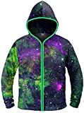 Electric Styles Light up Hoodies (Large, Green Galaxy w/Green LED)