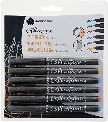 Manuscript Pen MM6646 Callicreative Italic Markers 6/Package Metallic - Assorted Colors