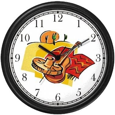 Icons of Mexico Sombrero, Guitar, Poncho, Desert, Saguaro Cactus, Sun – Mexico or Mexican Theme Wall Clock by WatchBuddy Timepieces Black Frame