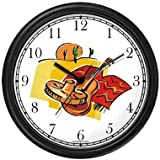 Icons of Mexico: Sombrero, Guitar, Poncho, Desert, Saguaro Cactus, Sun - Mexico or Mexican Theme Wall Clock by WatchBuddy Timepieces (Hunter Green Frame)