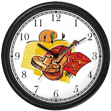 Icons of Mexico: Sombrero, Guitar, Poncho, Desert, Saguaro Cactus, Sun - Mexico or Mexican Theme Wall Clock by WatchBuddy Timepieces (Hunter Green Frame) by WatchBuddy