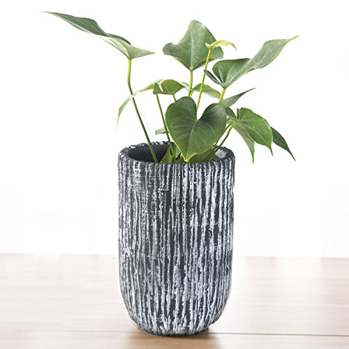 9 inch Modern Style Textured Cylindrical Gray Cement Planter Pot Vase - MyGift (Cement Planter Pot)