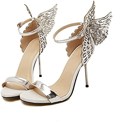 Amazon.com  Outsta Women Valentine Shoes Butterfly Flying Bronzing Sequins  Big Bowknot High Heels Sandals Summer Dress Shoes (Silver 79f8629f56df