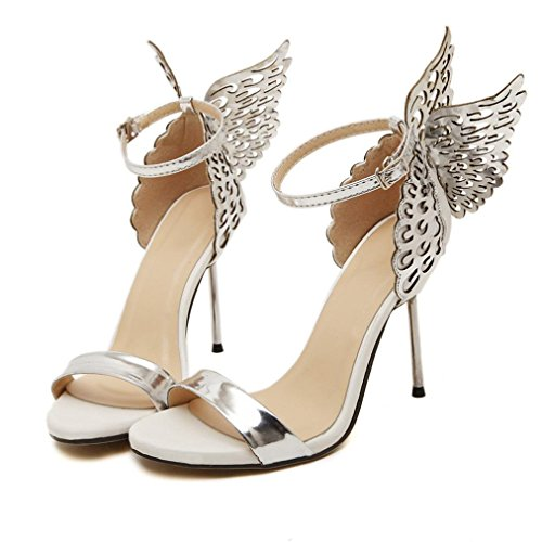 Outsta Women Valentine Shoes Butterfly Flying Bronzing Sequins Big Bowknot High Heels Sandals Summer Dress Shoes (Silver, US:8.5)