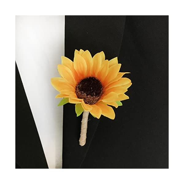 DALAMODA Sunflower Boutonniere- Artificial Silk Flower Groom Flowers Brooch with Pin for Wedding Prom,Any Party (Pack of 1 Yellow)