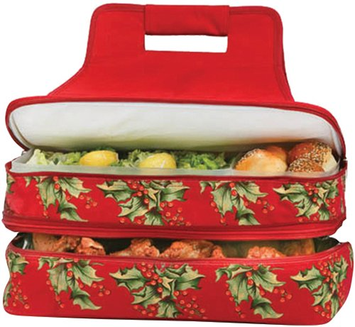Holly Casserole (Picnic Plus Christmas Holly Casserole Hot & Cold Pot Luck Food Carrier 2 levels Thermal Insulated)