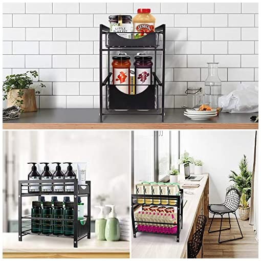 Kitchen AmnoAmno 2-Tie Under Sink Organizers and Storage Cupboard Cabinet Shelf Bathroom Kitchen Organizer Rack, Slide Out No… under-sink organizers