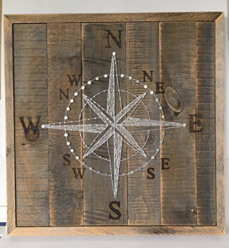 "Reclaimed wood framed compass rose string art sign with branded coordinates. Great for beach cottages and gifts for sailors. FREE SHIPPING 26""x26"" from Nail it Art"
