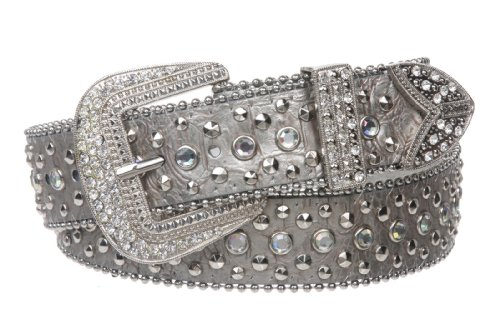 [Snap On Western Cowgirl Alligator Rhinestone Studded Leather Belt Size: S/M - 34