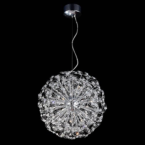 Contempo Collection Modern Chandelier for Living Room Dining Room – 12x K9 Crystal G9 LED / HALOGEN Bulb -Ceiling Lighting Fixture Pendant Chandelier – 58″ TALL, 21″x21″ Sphere – MEDIUM