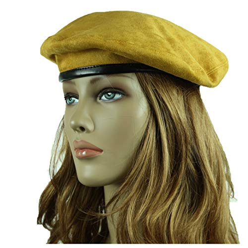 90210 Wholesale Fashion Beret Suede Hat Artist Hats Casual Plain Beanie Cap Slouch Unisex (Mustard)