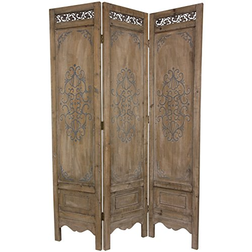 Oriental Furniture 6 ft. Tall Antiqued Scrollwork Room (3 Panel Folding Floor Screen)